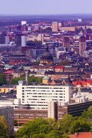 filtered: Stockholm aerial view - Ostermalm district. Filtered style colors. Stock Photo