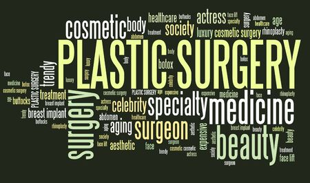 beauty surgery: Plastic surgery treatment - beauty medical procedures. Word cloud concept.