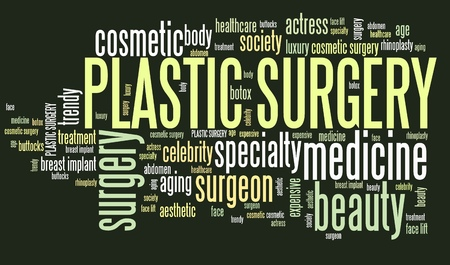 face surgery: Plastic surgery treatment - beauty medical procedures. Word cloud concept.