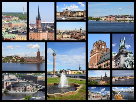 stan: Stockholm, Sweden travel photos collage. Collage includes major landmarks like Gamla Stan (Old Town), Sodermalm island and Parliament. Stock Photo
