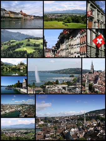 ünlü yer: Travel collage from Switzerland. Collage includes famous places like Berne, Geneva, Zurich and Luzern.