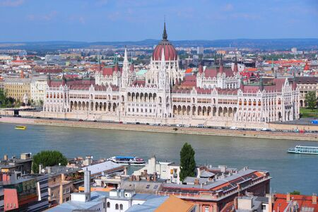 Budapest, Hungary - cityscape with Danube river and Parliament building. photo