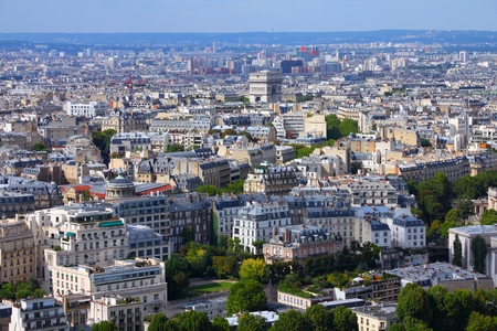Paris aerial view with Triumphal Arch. Capital city of France. photo