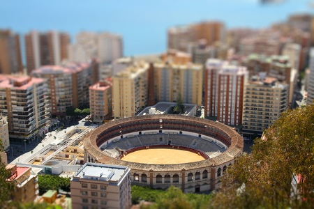 bull ring: Malaga, Spain - bull ring arena. Tilt shift style focus with blurred background. Stock Photo