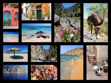 collage travel: Crete island collage - travel places photos from Greece.