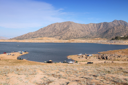 depletion: Drought in California - low level of Lake Isabella in Kern County. United States landscape.