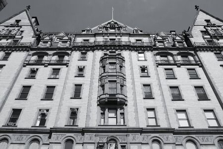 old new york: New York City, United States - old building in Midtown Manhattan. Dakota building. Black and white tone - retro monochrome color style. Stock Photo