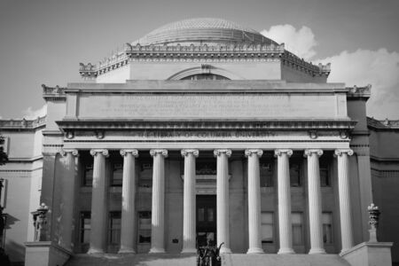 New York City, United States - Low Memorial Library at famous Columbia University in Upper Manhattan. Black and white tone - retro monochrome color style.