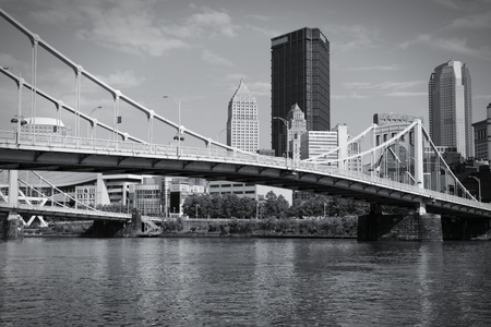 allegheny: Pittsburgh, Pennsylvania - city in the United States. Skyline with Allegheny River. Black and white tone - retro monochrome color style.