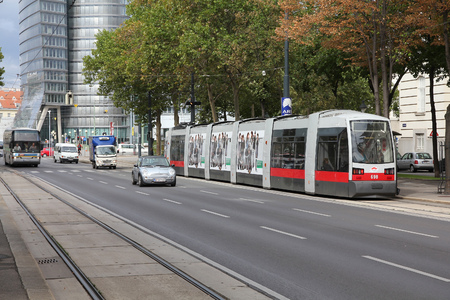 VIENNA, AUSTRIA - SEPTEMBER 9, 2011: People ride a tram in Vienna. With 172km total length, Vienna Tram network is among largest in the world. In 2009 186.9m passengers used Vienna trams. Editorial