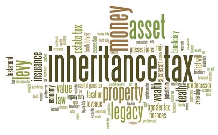 muerte: Impuesto de sucesiones - temas de finanzas personales y conceptos nube de etiquetas ilustración. Palabra collage concepto nube.
