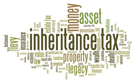 death: Inheritance tax - personal finance issues and concepts tag cloud illustration. Word cloud collage concept.