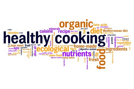 lowfat: Healthy cooking and slow food diet concepts word cloud illustration. Word collage concept. Stock Photo