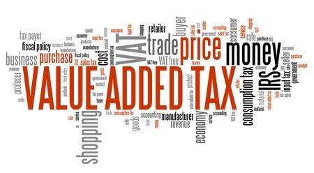 Mehrwertsteuer Mehrwertsteuer - Finanzfragen und Konzepte Tag Cloud Illustration. Word-Cloud-Konzept Collage.