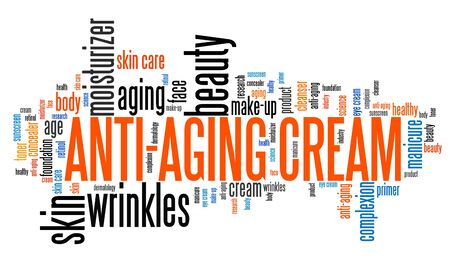complexion: Anti-aging cream - wrinkle skin care. Word cloud concept. Stock Photo