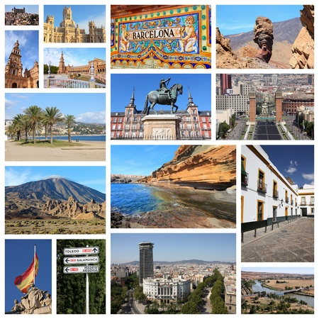 ünlü yer: Travel collage from Spain. Collage includes famous places like Madrid, Barcelona, Toledo, Seville, Malaga and Tenerife.