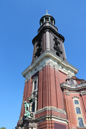 Hamburg, Germany - St. Michaels Church (Sankt Michaelis). Old baroque landmark. Stock Photo
