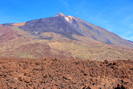 natural landmark: Pico del Teide  volcano in Tenerife. Natural landmark and lava field.