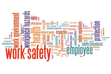 Werk veiligheidskwesties en concepten word cloud illustratie. Word collage concept. Stockfoto - 40560673