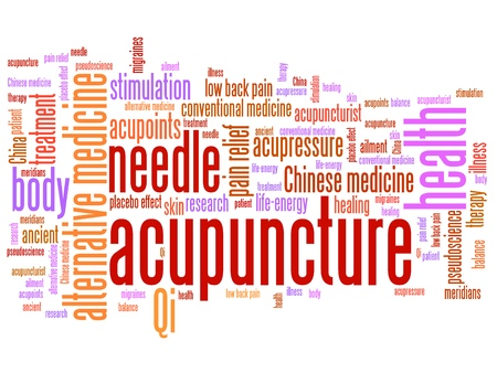 stimulation: Acupuncture alternative medicine issues and concepts word cloud illustration. Word collage concept. Stock Photo