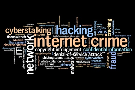 proxy: Internet crime (hacking, stalking and malware) issues and concepts word cloud illustration. Word collage concept.