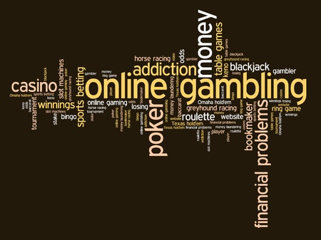 artistic addiction: Online gambling issues and concepts word cloud illustration. Word collage concept.