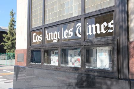 american media: LOS ANGELES, USA - APRIL 5, 2014: Los Angeles Times office in Los Angeles. LA Times has been published since 1881. Editorial