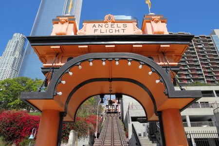 narrow gauge: LOS ANGELES, USA - APRIL 5, 2014: Angels Flight narrow gauge funicular in Los Angeles. The short funicular was built in 1901.