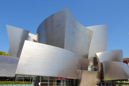 frank   gehry: LOS ANGELES, USA - APRIL 5, 2014: Walt Disney Concert Hall in Los Angeles. The famous landmark was designed by Frank Gehry.