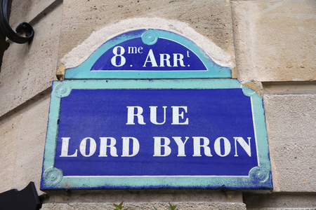 byron: Paris, France - Rue Lord Byron old street sign.