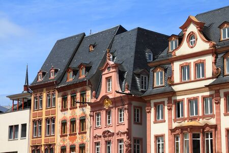 MAINZ: Mainz, Germany. Old decorative houses at the main city square. Editorial