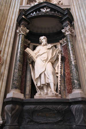 consecrated: ROME, ITALY - APRIL 8, 2012: Interior view of Lateran Basilica with Saint Simon statue in Rome. Famous baroque landmark was first consecrated in year 324.