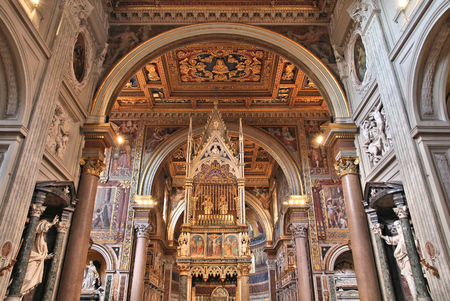 consecrated: ROME, ITALY - APRIL 8, 2012: Interior view of Lateran Basilica in Rome. Famous baroque landmark was first consecrated in year 324.