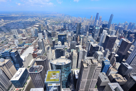chicago city: Chicago, Illinois (USA). City architecture aerial view with Lake Michigan. Stock Photo