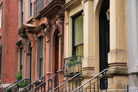 brownstone: New York City, United States - old brownstone townhouses in Turtle Bay neighborhood in Midtown Manhattan. Stock Photo