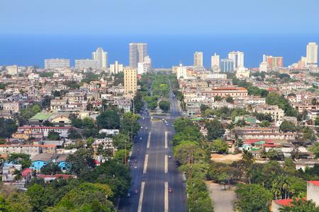 Havana, Cuba - aerial view with Caribbean Sea. photo