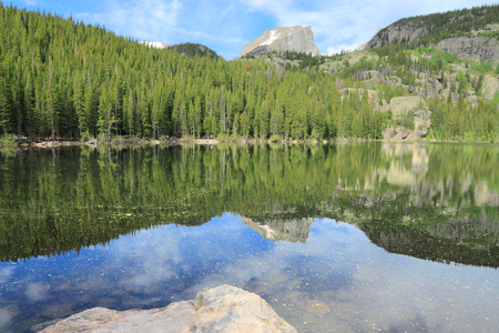bear lake: Bear Lake in Rocky Mountain National Park in Colorado, USA. Stock Photo