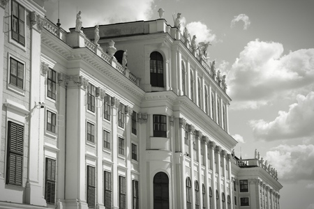 schoenbrunn: Vienna, Austria - Schoenbrunn Palace, a UNESCO World Heritage Site. Black and white retro style.