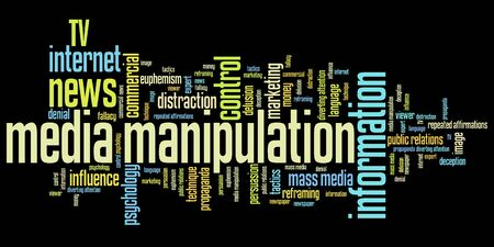 manipulation: Media manipulation issues and concepts word cloud illustration. Word collage concept. Stock Photo
