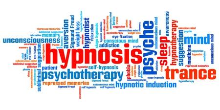 psique: Cuestiones Hipnosis y conceptos ilustración nube de palabras. Collage concepto Palabra.