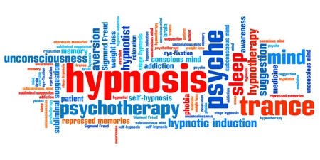 Hypnose kwesties en concepten woordwolk illustratie. Word collage concept. Stockfoto