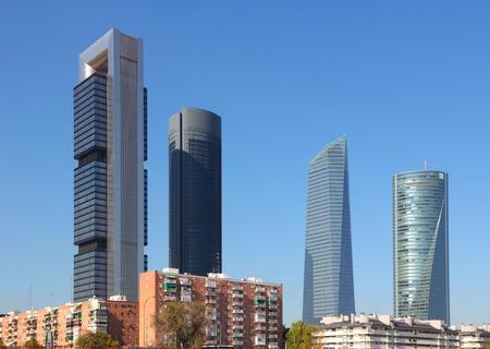 cuatro: Madrid, Spain - skyscraper city skyline. Modern architecture.