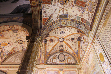 italian fresco: FLORENCE, ITALY - MAY 1, 2015: Old frescos of Palazzo Vecchio in Florence, Italy. The landmark serves as City Hall of Florence and was built in 13th century. Editorial
