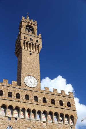 palazzo: Florence - Palazzo Vecchio. Old town romanesque architecture in Tuscany, Italy.