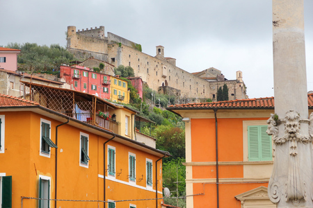 massa: Massa - town in Tuscany, Italy. Malaspina Castle overlooking the city. Editorial
