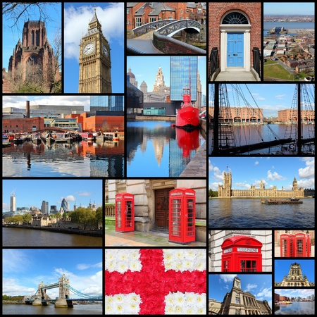 photo montage: England, United Kingdom places photo collage. Collage includes major cities like London, Birmingham, Manchester, Liverpool and Bolton.