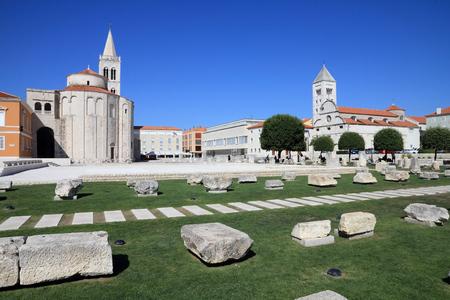 townscape: Croatia - Zadar in Dalmatia. Townscape with Roman ruins and St. Mary church. Stock Photo