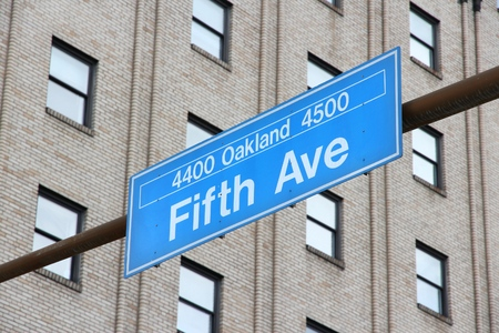 avenue: Street in Pittsburgh, Pennsylvania - Fifth Avenue sign.