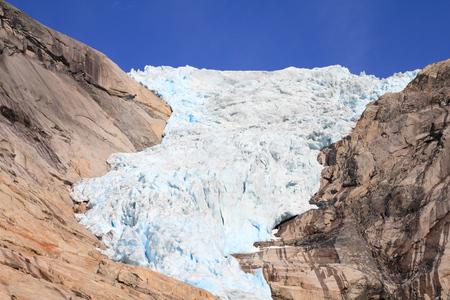 jostedalsbreen: Norway nature - glacier landscape. Jostedalsbreen National Park - Briksdalsbreen Glacier. Stock Photo