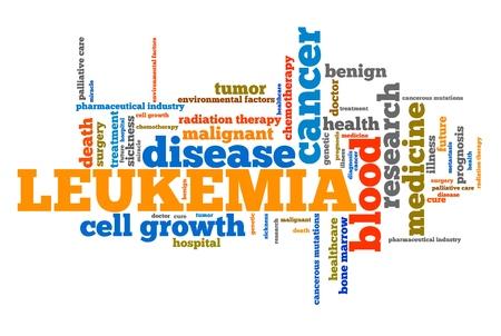 leucemia: Palabra leucemia concepto de collage. El tratamiento del cáncer Enfermedad grave.